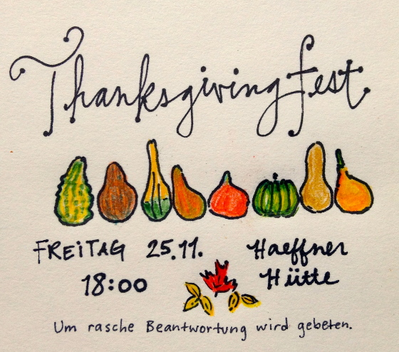 Thanksgiving Einladungskarte 2016